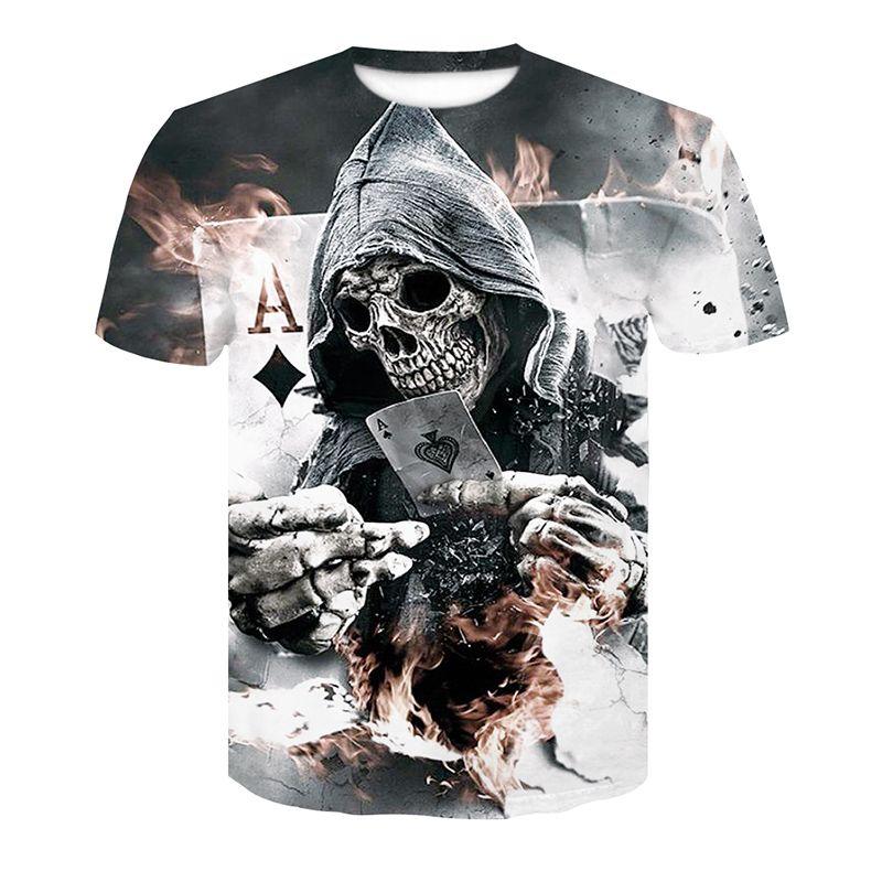 2018 Nouveaux Hommes D'été Crâne Poker Impression Hommes Manches Courtes T-shirt 3D T-shirt décontracté Respirant T-shirt T-shirt taille Plus de coupe