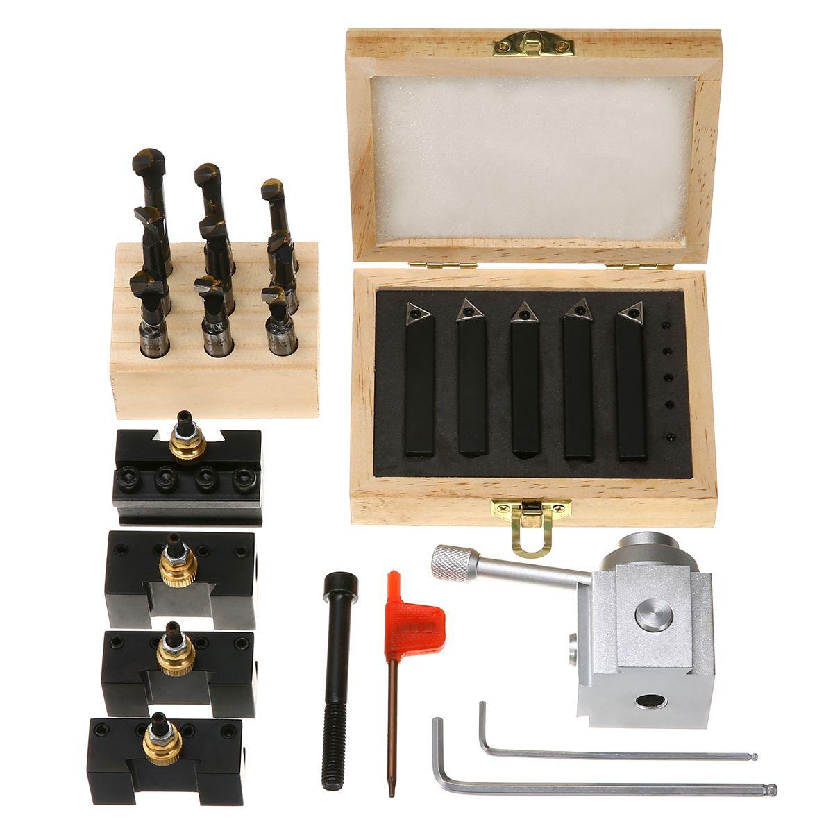 Mayitr 5 stücke Quick Change Post Werkzeughalter + 9 stücke 3/8 Bohrstange mit 5 stücke 3/8 Drehwerkzeug für Drehwerkzeuge