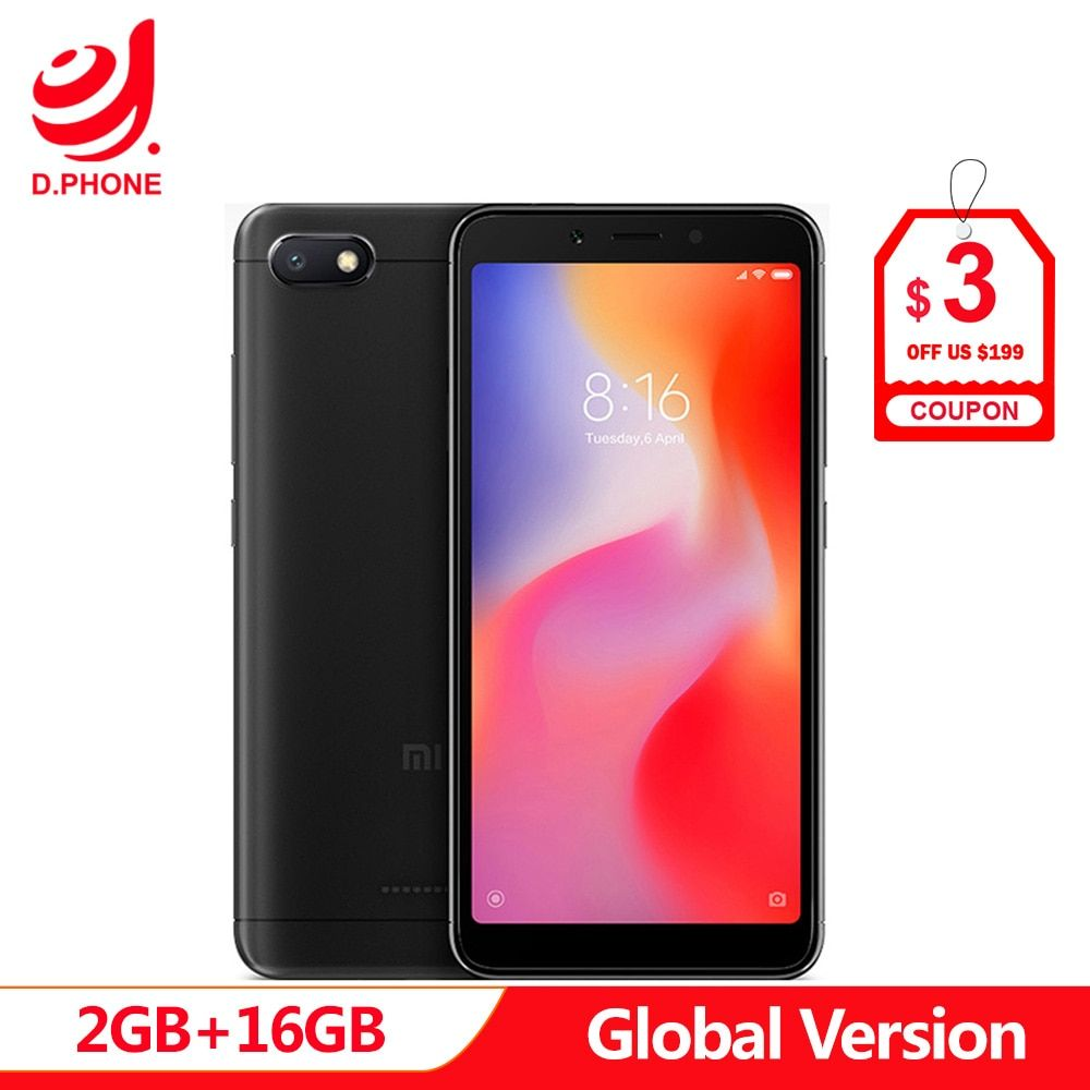 Global Version Xiaomi Redmi 6A 18:9 Full Screen MTK Helio A22 MIUI 9 2GB 16GB 4G LTE AI 13.0MP Face Recognition 6 A Phone