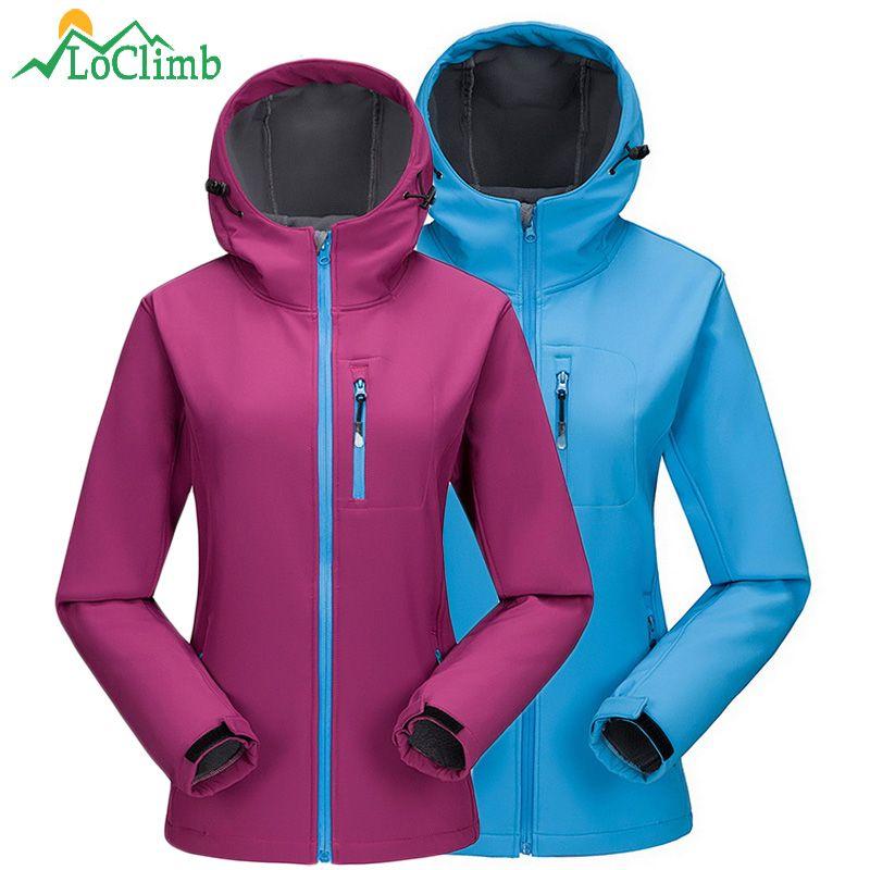 Loclimb acampar al aire libre senderismo mujer Chaquetas fleece Softshell impermeable de las mujeres windbreaker trekking esquí deporte, aw098