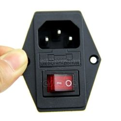 Black Red AC 250V 10A 3 Terminal Power Socket with Fuse Holder #H029#