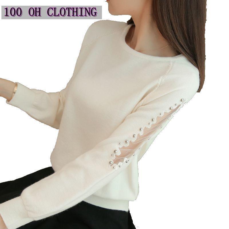 OHCLOTHING 2018 Un lâche courte femelle dentelle perles automne hiver Femmes chandail couverture tout-allumette chemise solide pull Tricots
