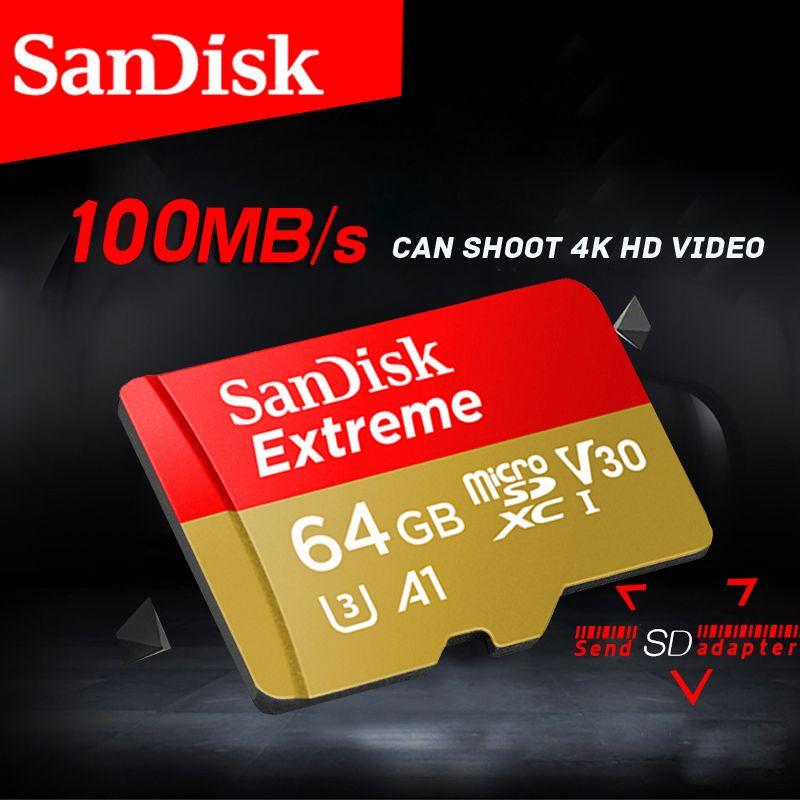 Free shipping SanDisk Memory Card Extreme microSD UHS-I microSDXC Class10 U3 100 MB/s 32GB 64GB TF Card Support 4K UHD