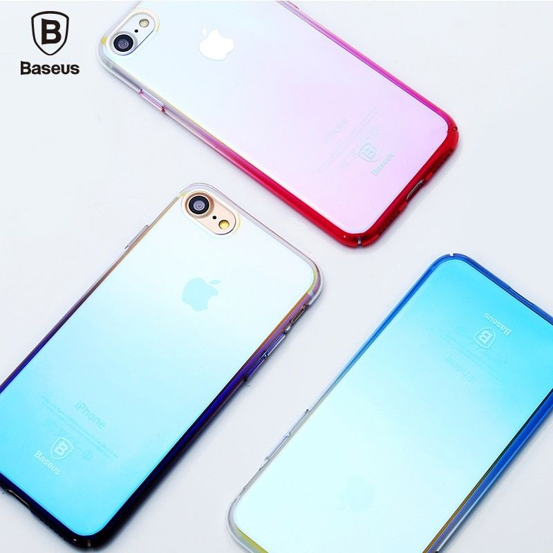 BASEUS i7 i7 + Vernis Cas pour Apple iPhone 7 7 Plus Gradient Couleur Brillant Dur Téléphone Couverture 4.7 ''5.5'' Mobile boîtier