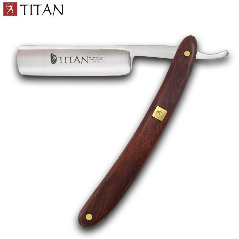 Livraison gratuite Titan bois poignée rasoir droit lame en acier sharp déjà