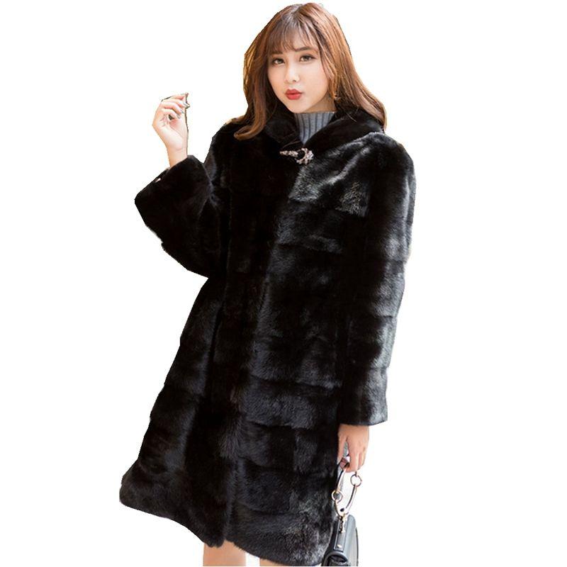 90 cm Länge Echte Nerz Pelz Mantel Jacke mit Hoody Dünnen Gürtel Winter Echte Frauen Pelz Oberbekleidung Plus Größe 3XL LF5204