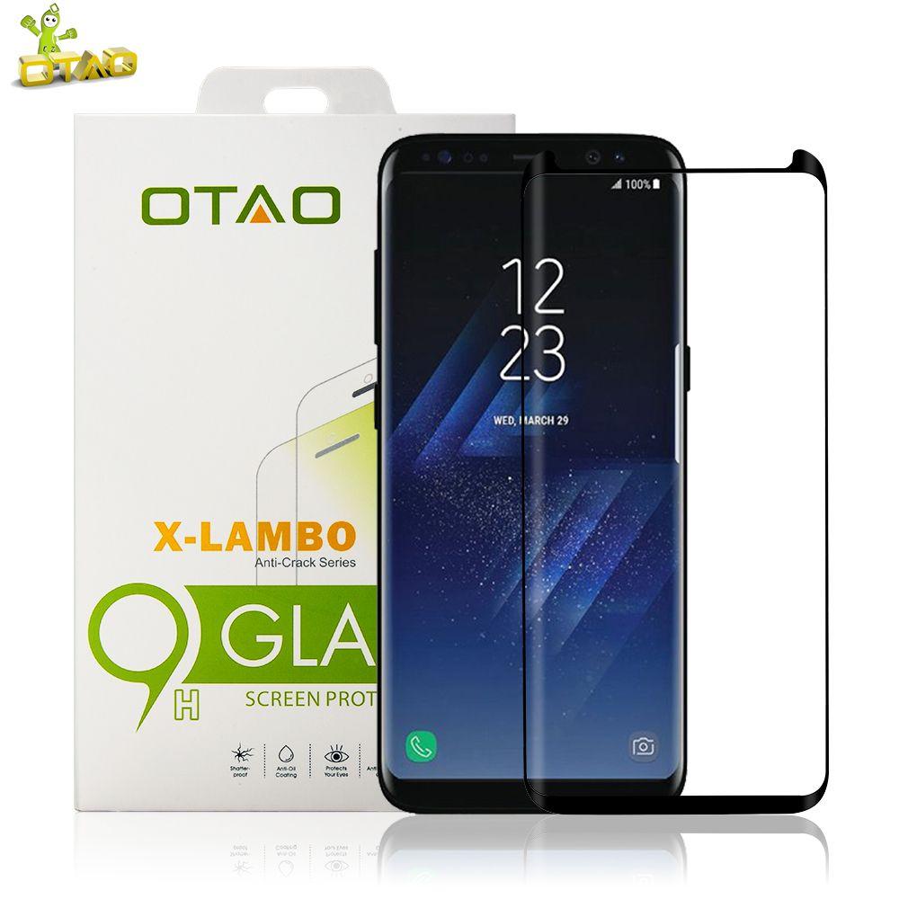 Protecteur d'écran incurvé 3D en verre trempé OTAO pour Samsung Galaxy S8 S8 Plus Film d'herbe de téléphone à couverture complète