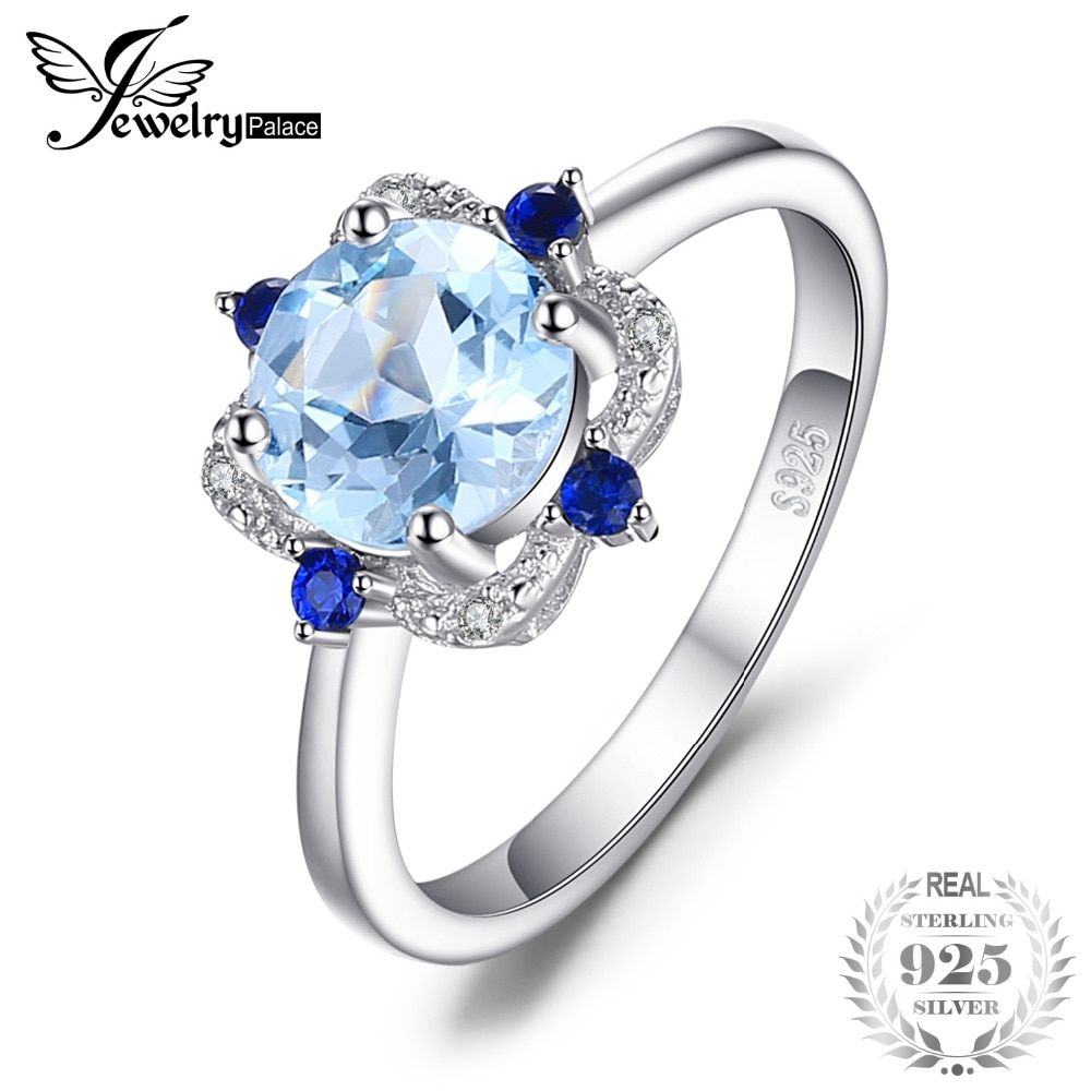 JewelryPalace Fashion 1.8ct Round Natural Sky Blue Topaz Sapphire Anniversary Fine Ring 925 Sterling Silver Jewelry For Women