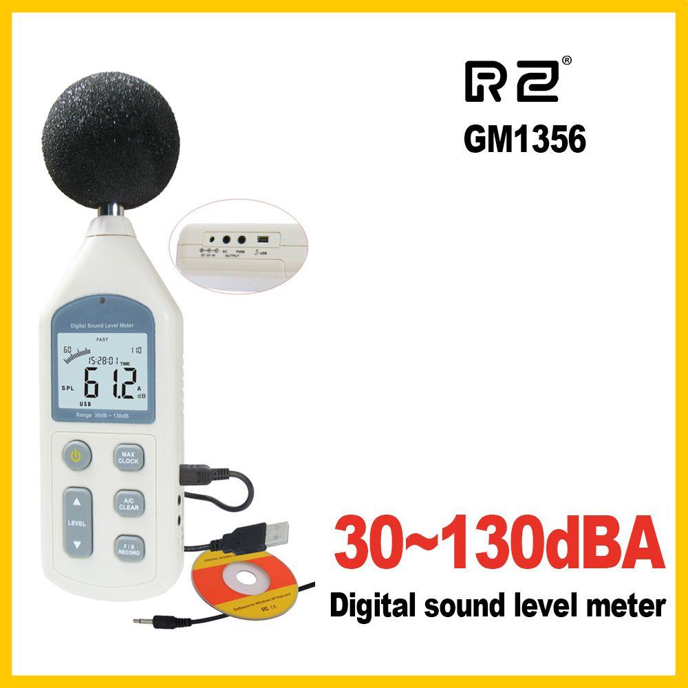 RZ nouveau sonomètre numérique mètres testeur de bruit GM1356 30-130dB LCD A/C rapide/lent dB écran USB + logiciel