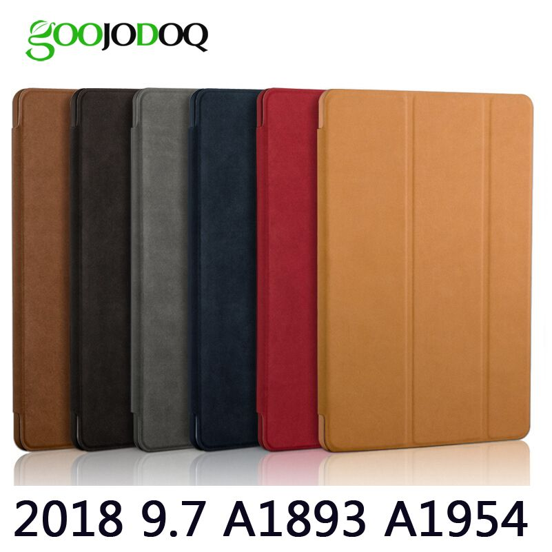 Case For iPad 9.7 2018, GOOJODOQ Matte Deer PU Leather Smart Cover Protective Tablet Case for Apple iPad 2018 Auto Sleep/Wake Up