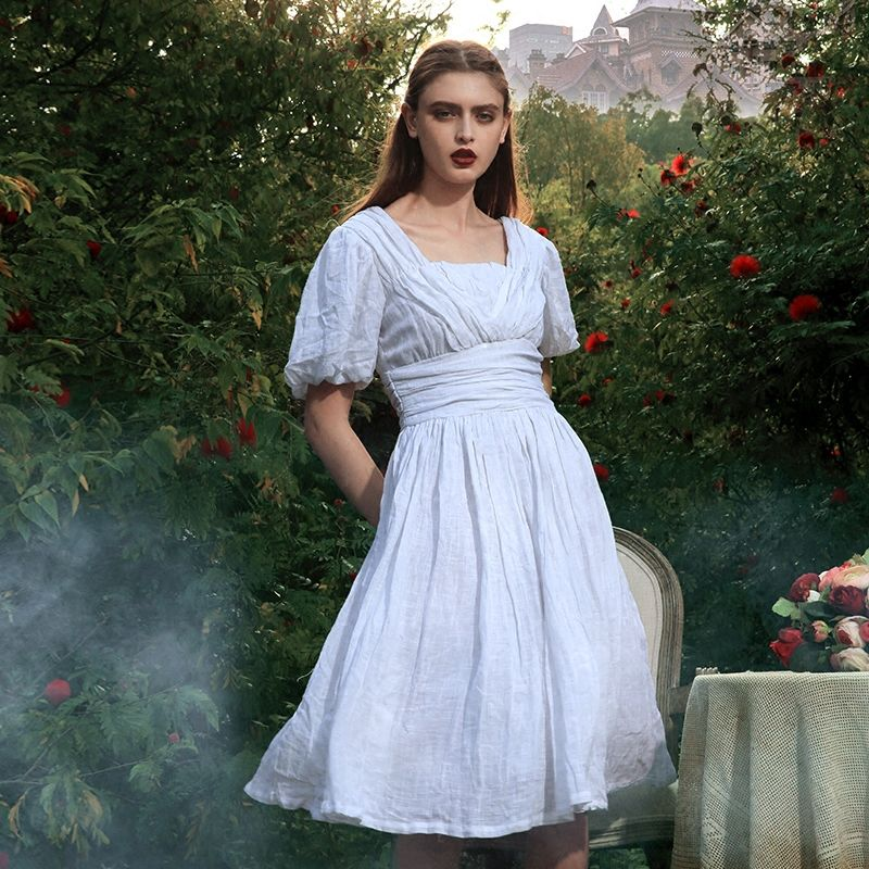 Original Design Summer Vintage Victoria Goddess Elegant Slim V-Neck Lantern Sleeve White Peru Imported Ramie Knee-Length Dress