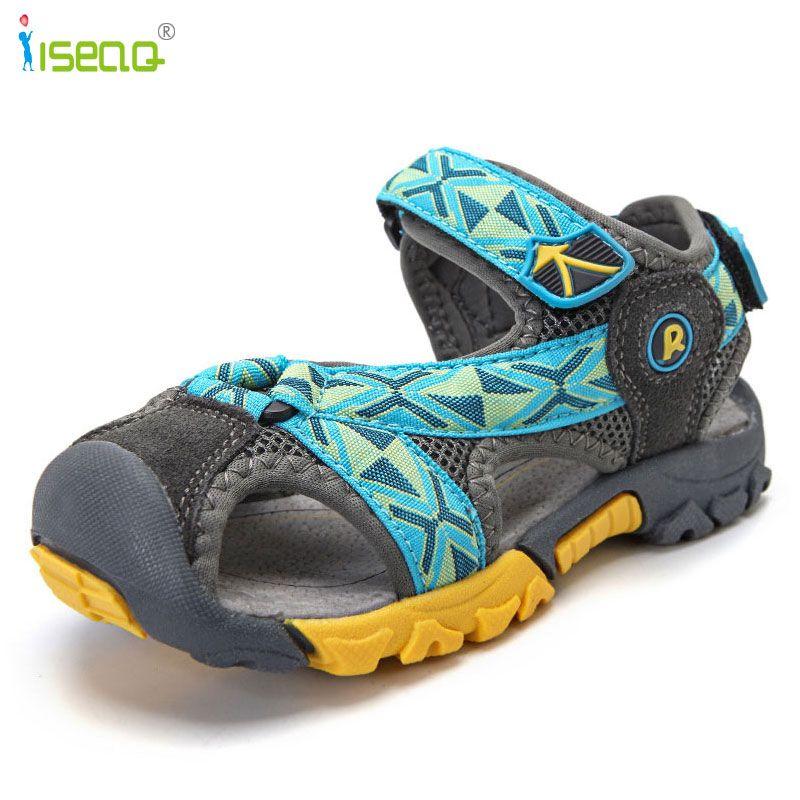 Enfants garçons sandales chaussures d'été garçons en cuir véritable découpes enfants toile pluie semelle souple sandales respirant chaussures plates