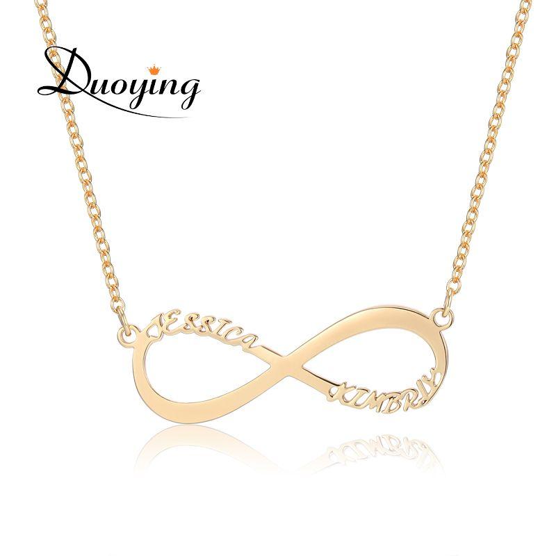 DuoYing Бесконечность Цепочки и ожерелья для Ebay пользовательское имя Цепочки и ожерелья Золото Два имя персонализированные подарок для мамы и ...