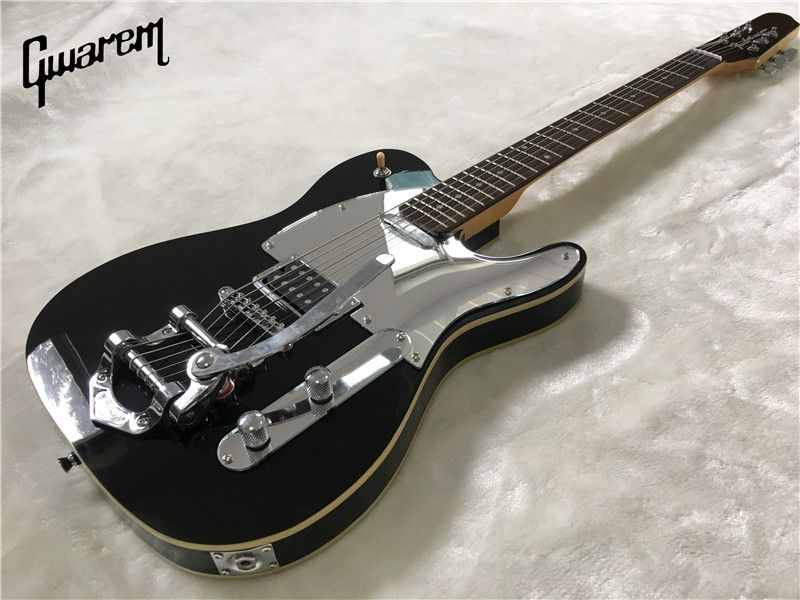 Electric guitar/2017 new Gwarem luck star tele guitar/black color with big-sby tremolo/guitar in china