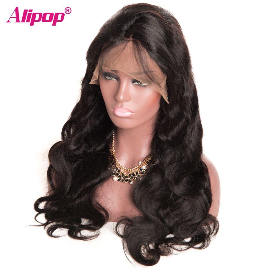 360 Dentelle Frontale Perruque Brésilienne Vague de Corps Avant de Lacet de Cheveux Humains perruques pour Femmes Noir Remy Pré Plumées 360 Dentelle Perruque ALIPOP