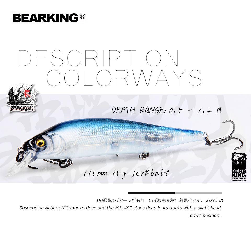 BEARKING 2019 Heißer angeln lockt, verschiedene farben, elritze kurbel 115mm 15g, wolfram gewicht system wobbler modell kurbel köder