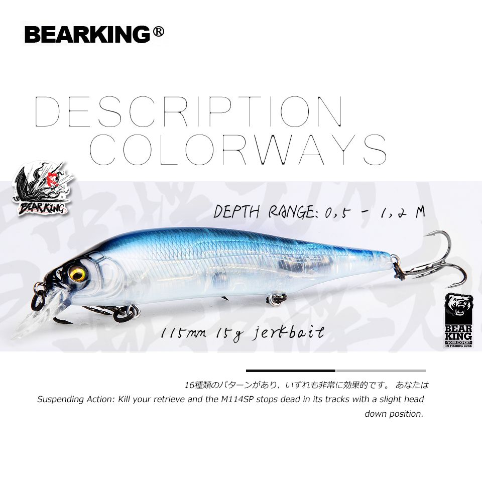 BEARKING 2019 Hot fishing lures, assorted colors, minnow crank 115mm 15g,Tungsten weight system wobbler model crank bait