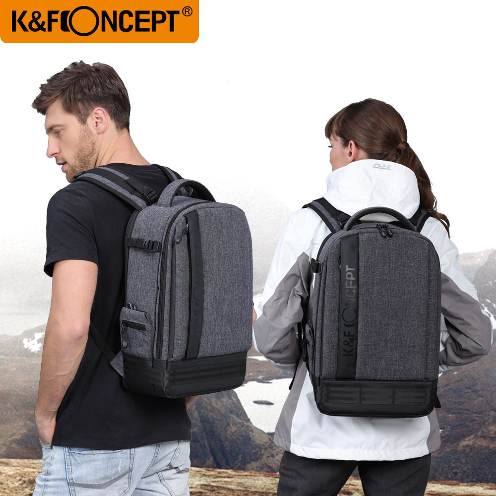 K&F CONCEPT Camera Backpack Waterproof Universal Travel Bag Padded High Capacity Hold Tripod Straps for Canon Nikon Sony Lens