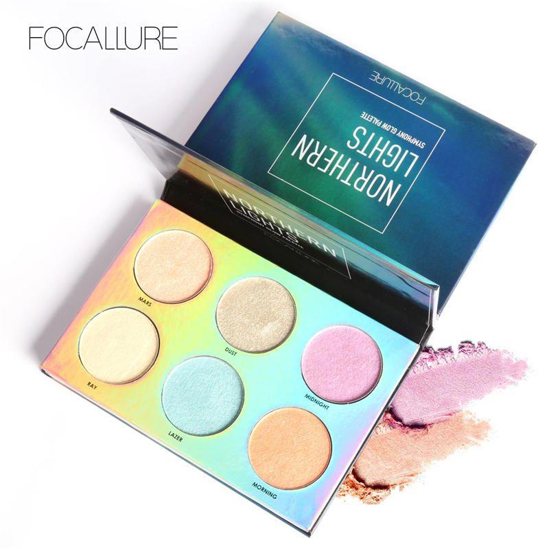 FOCALLURE Surligneur Visage Maquillage Poudre Clignotant Northern Lights Belle 6 couleurs Highlight Étanche maquillage poudre palette