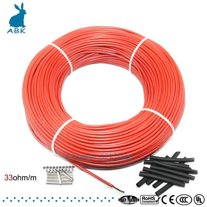 12K 100 mètres de fibre de carbone à faible coût chauffage fil câble chauffant Anti-gel isolation thermique système de chauffage par le sol