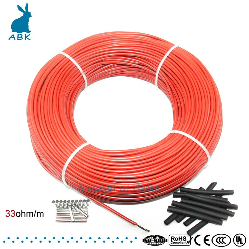 12K 100meters carbon fiber low cost heating wire Heating cable Anti freezing <font><b>thermal</b></font> insulation floor heating system