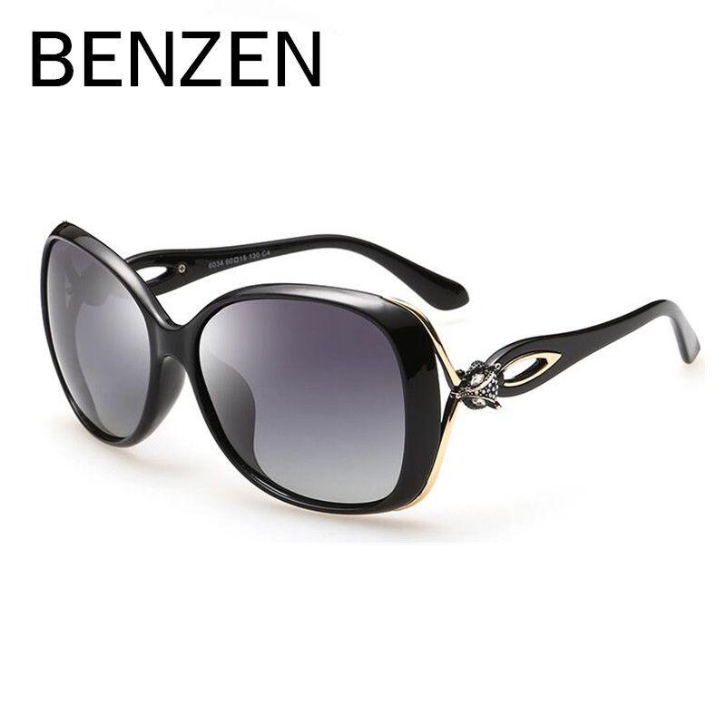 Бензола солнцезащитные очки Для женщин поляризационные женские солнцезащитные очки для вождения роскошные дамы Оттенки очки аксессуары с ...