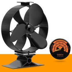 Stove Thermometer + Large Airflow Heat Powered Stove Fan Eco Fan Wood Stove Fan
