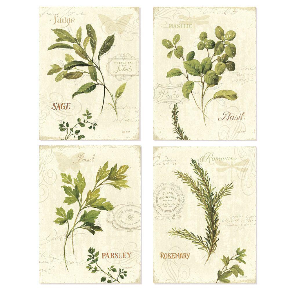 Vintage vert feuilles aromatique aquarelle style art imprime 4 en 1/prêt pour encadré art ou affiche cadre/mur deocor
