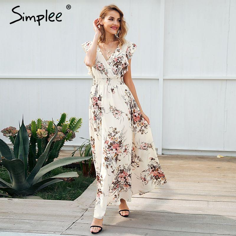 Simplee Ruffle backless bow print long dress Women v neck tie up summer dress female Casual beach chic boho maxi dress vestidos