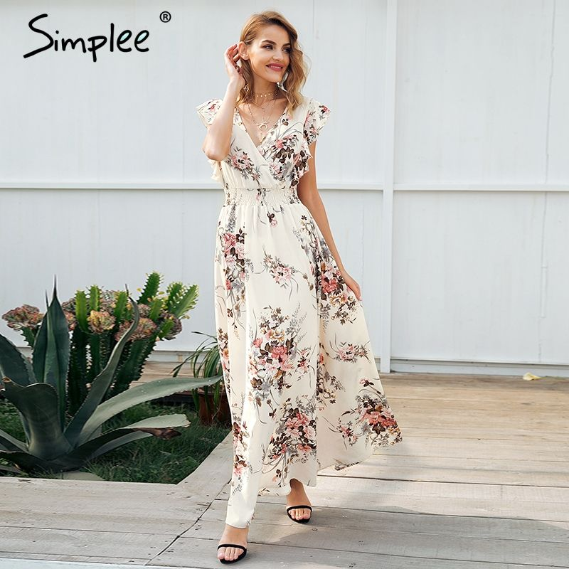 Simplee Ruffle backless bow print long dress Women v neck tie up summer dress female Casual beach chic boho maxi dress vestidos