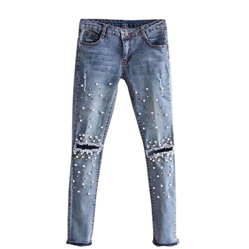 Women's jeans ripped Hole Stretch Jeans Beads Pearl skinny denim pants casual Slim Fit Rivet Trousers Mid Waist Cowboy