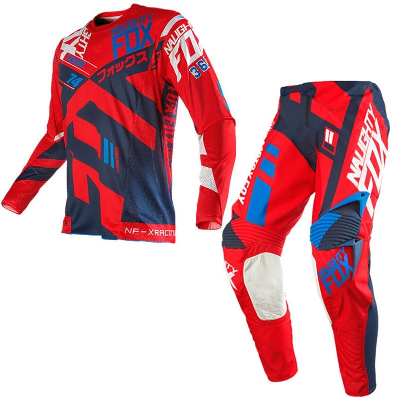 Free Shipping 2018 NAUGHTY 360 MX Gear Set Motocross ATV Dirt Bike Off-Road Race Gear Pant Jersey Combo RED
