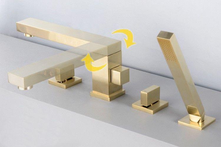 Gebürstet Gold messing quadrat bad Badewanne wasserhahn set 2 griff 4 löcher mixer wasserhahn Hohe grade design Drehbare dusche Tap