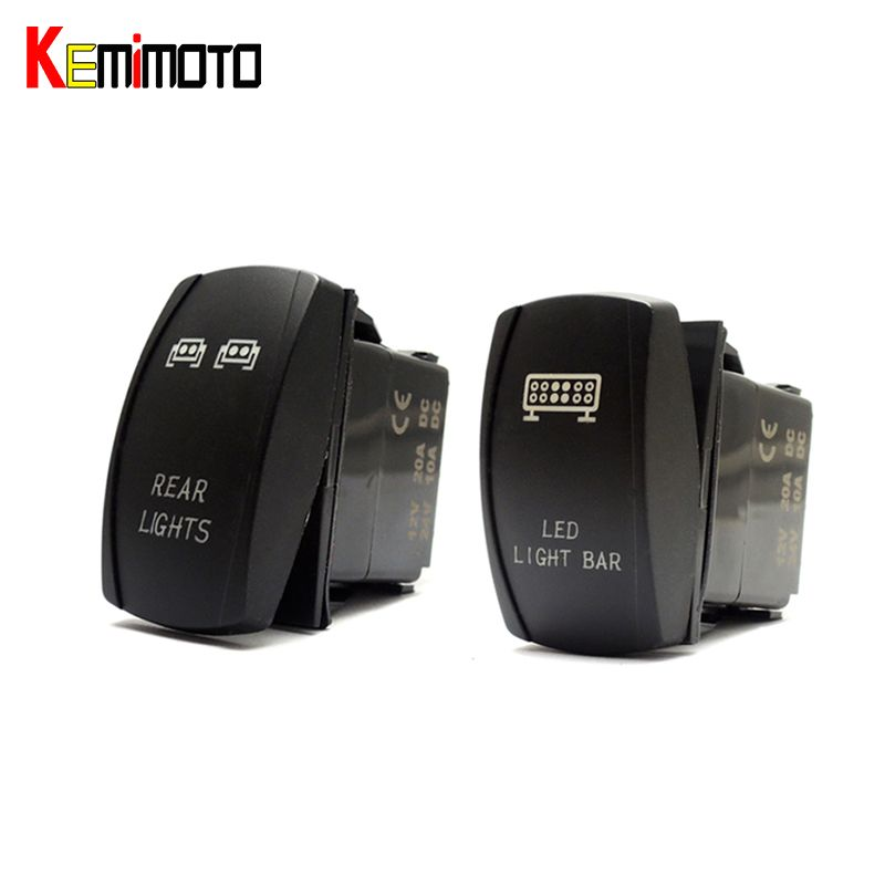 KEMiMOTO 1 Set UTV FOR Polaris RZR 1000 900 Blue LED Light Rocker Switch Bar Rear Light for Can Am Slingshot Commander 1000 800R