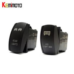 KEMiMOTO 1 Set UTV FOR Polaris RZR 1000 900 Blue LED Light Rocker Switch Bar Rear Light for Can Am Slingshot Commander 1000 800R
