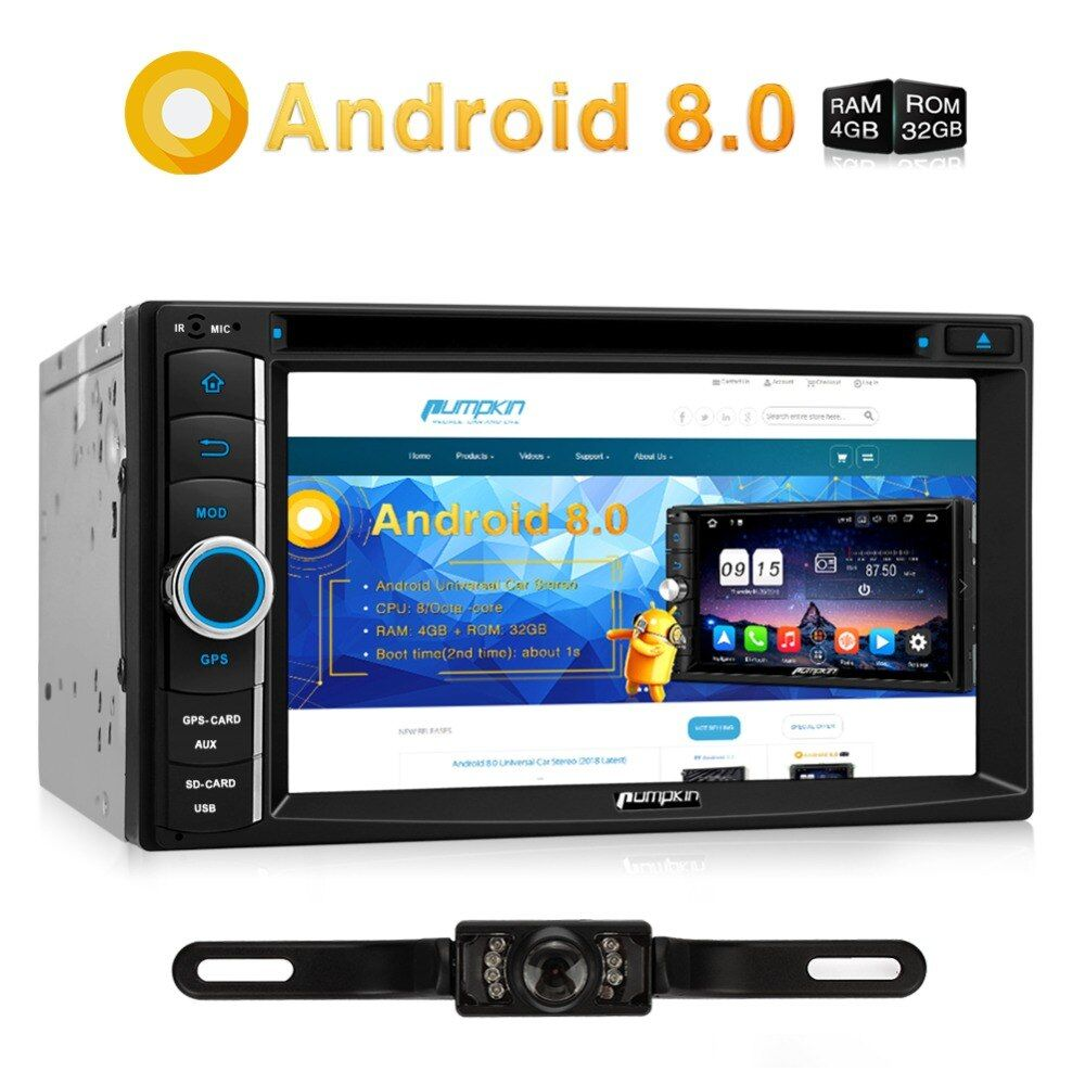 Pumpkin 2 Din Android 8.0 Universal Car DVD Player GPS Navigation Bluetooth Qcta-core Car Stereo FM Rds Radio OBD2 4G Headunit