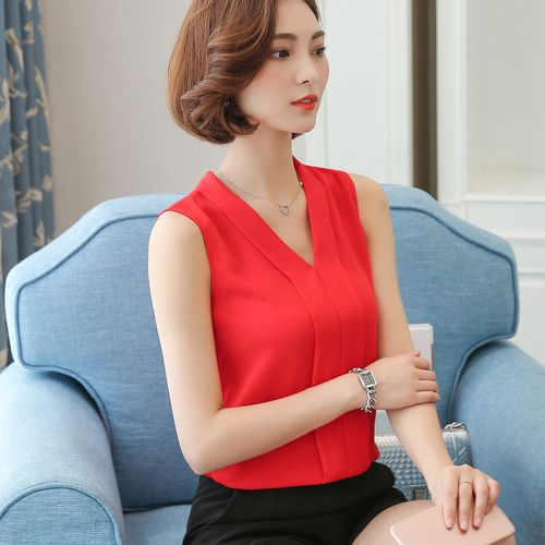 Xmas J41938 Summer One Size 2018 Chiffon Shirt V Neck Solid Color Sleevess Office Lady Work Casual Shirts
