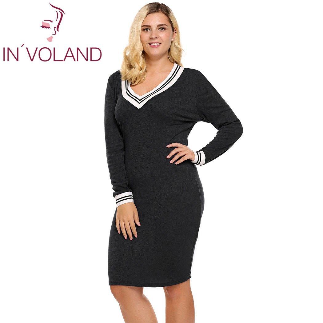 IN'VOLAND Sweater Dress Plus Size V-cuello Profundo de Las Mujeres de Manga Larga Bodycon Lápiz Longitud de La Rodilla de Punto Jersey de Otoño Señora Dresse