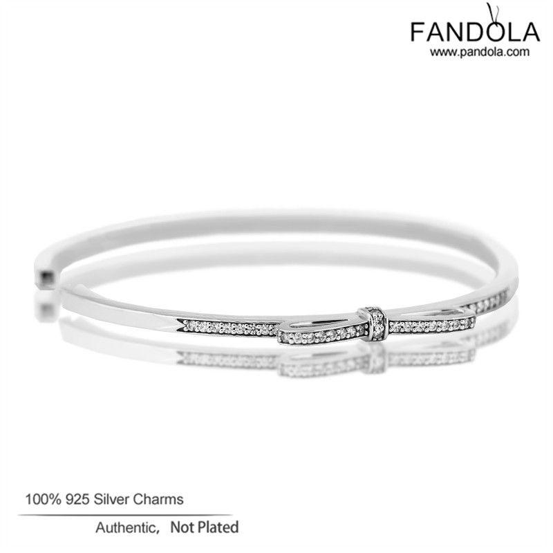 Fandola claro CZ Pulseras y brazaletes 925 Sterling Silver espumoso arco brazalete para las mujeres pulseira feminina joyas dropshipping