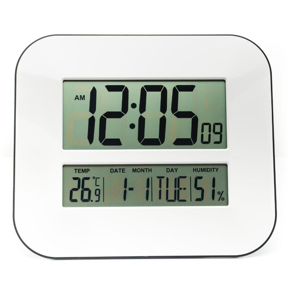 Big Number LCD Digital Wall Clock Table Desktop Alarm Clock with Temperature Thermometer Humidity Hygrometer Snooze Calendar
