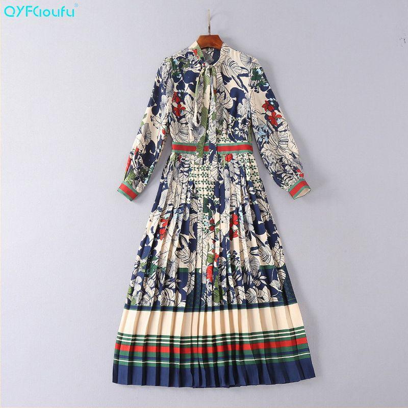 QYFCIOUFU 2018 Summer Pleated Dress Women Long Sleeves High Quality Designer Runway Floral Print Bow Fashion Casual Long Dress