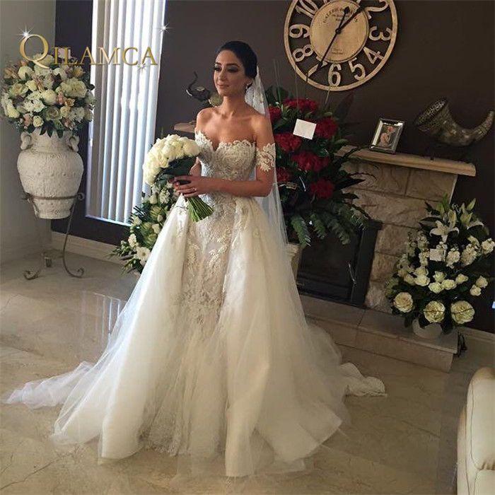 Hohe Qualität Hand Perlen Bestickte Spitze Appliqued Brautkleid Weg Von der Schulter Abnehmbare Rock Meerjungfrau Hochzeit Kleid