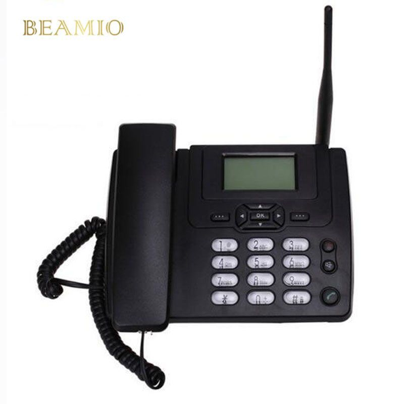 GSM SIM Card Desktop Wireless Phone Home Landline Telephone Wall Mount With FM Radio <font><b>Fixed</b></font> Radiotelephone Wired Phone Home Black
