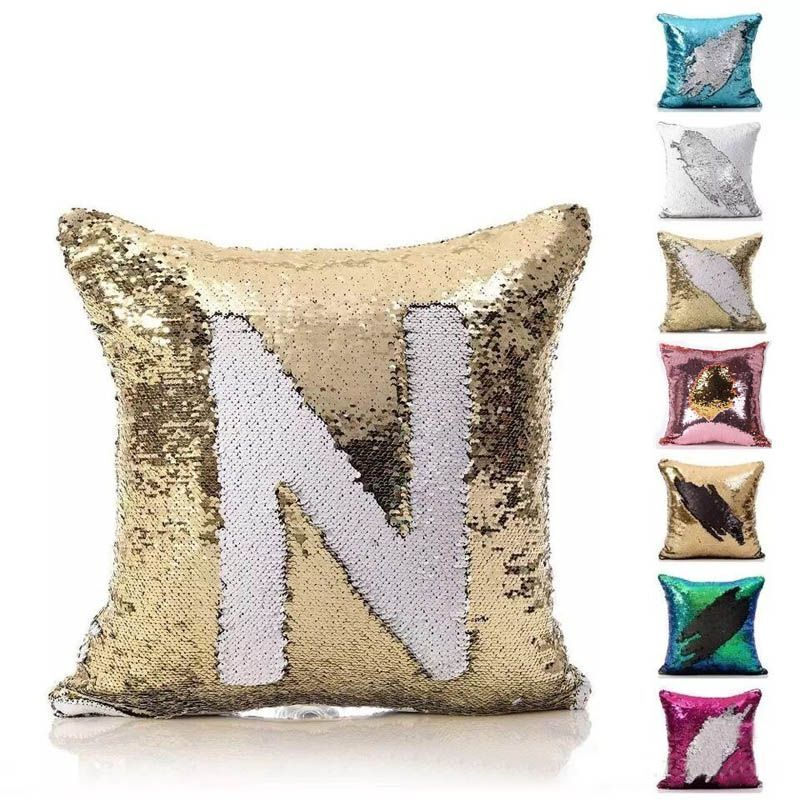 Reversible Pillow Case Mermaid Sequin Pillow Cover DIY Decorative Cushion Covers Color Changing Sofa Throw Pillowcase 40*40cm