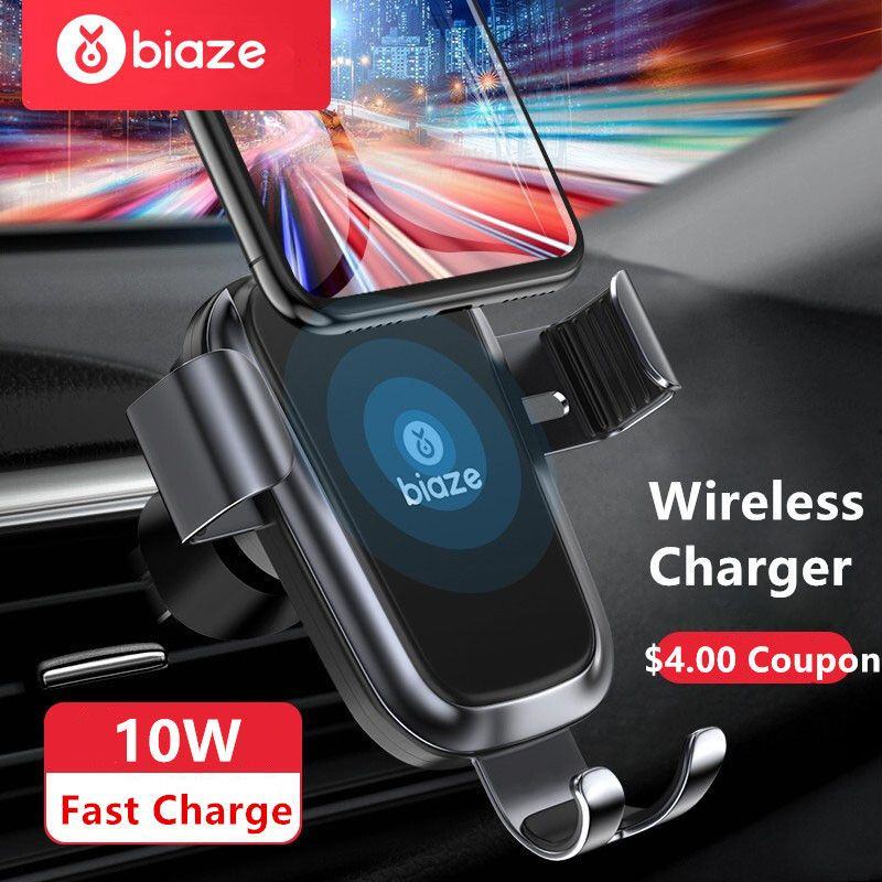 Biaze Car Mount Air Vent 10W Qi Wireless Charger For iPhone XS Max X XR 8 Fast Charge Car Phone Holder For Samsung Note 9 S9 S8