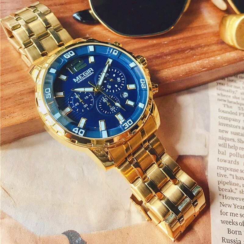 Megir Luxus Marke Sport Männer Uhren Edelstahl Strap Chronograph Military Quarzuhr Business Uhr Relogios Masculinos