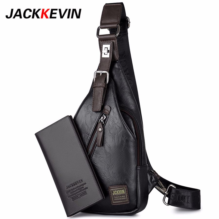 JackKevin Men's Fashion Crossbody Bag Theftproof <font><b>Rotatable</b></font> Button Open Leather Chest Bags Men Shoulder Bags Chest Waist Pack