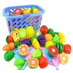 Surwish 23Pcs/Set Plastic Fruit Vegetables Cutting Toy Early Development and Education Toy for Baby - Color Random