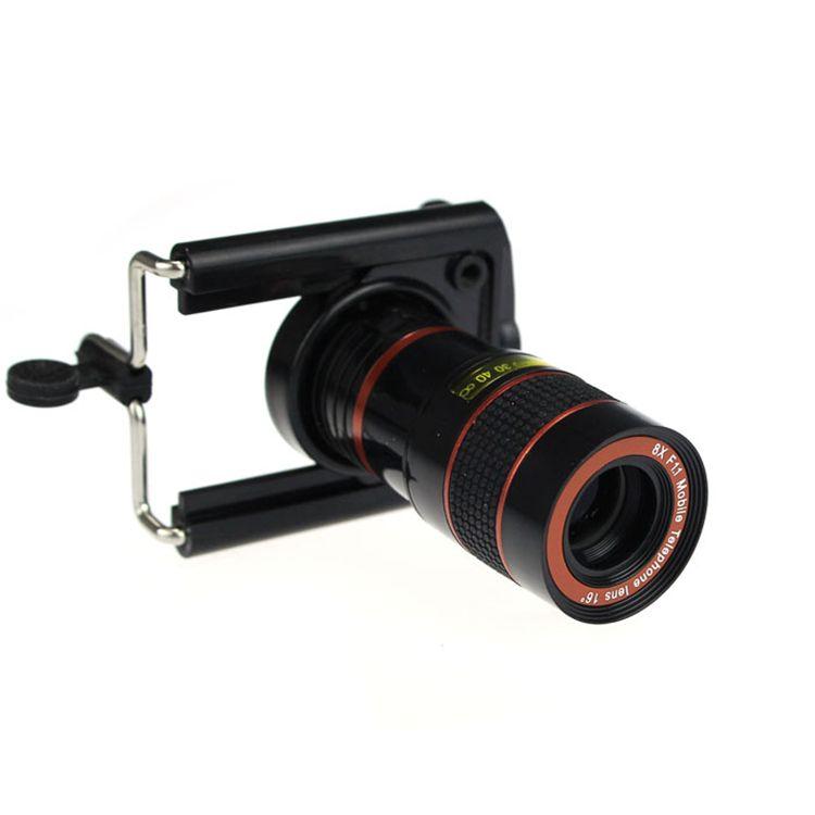 Universal 8X Zoom Téléobjectif Lentilles Optique Télescope Caméra Kit Grand Angle Lentille Avec Clips Pour l'iphone 4 5 5S SE 6 6 S 7 Plus 8 X