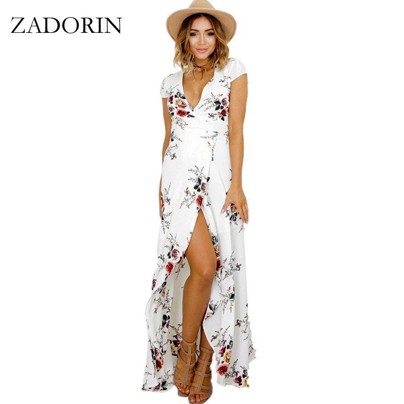 ZADORIN 2018 <font><b>Hotsale</b></font> Long Summer Beach Dress Women Sexy Deep V Floral Chiffon Maxi Dress Front Split Bohemian Dresses robe ete